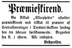 """Annonse for Skarphedins premieskirenn 5. februar 1893 i Torstvedtbakkene. """"Alle innbydes""""."""